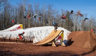 Carson Storch and Jaxson Riddle ride mountain bikes while Luke Winkelmann and Sean Fitzsimmons snowboard at Red Bull Last Chair First Run in Snowshoe, West VIrginia, USA on 4 April, 2021. // SI202104230011 // Usage for editorial use only //