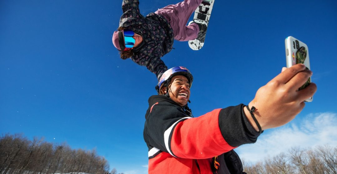 Miles Fallon snowboards with a little help from Zeb Powell at Stratton Mountain, Vermont, USA on 4 March, 2021. // Brian Nevins/Red Bull Content Pool // SI202103050840 // Usage for editorial use only //